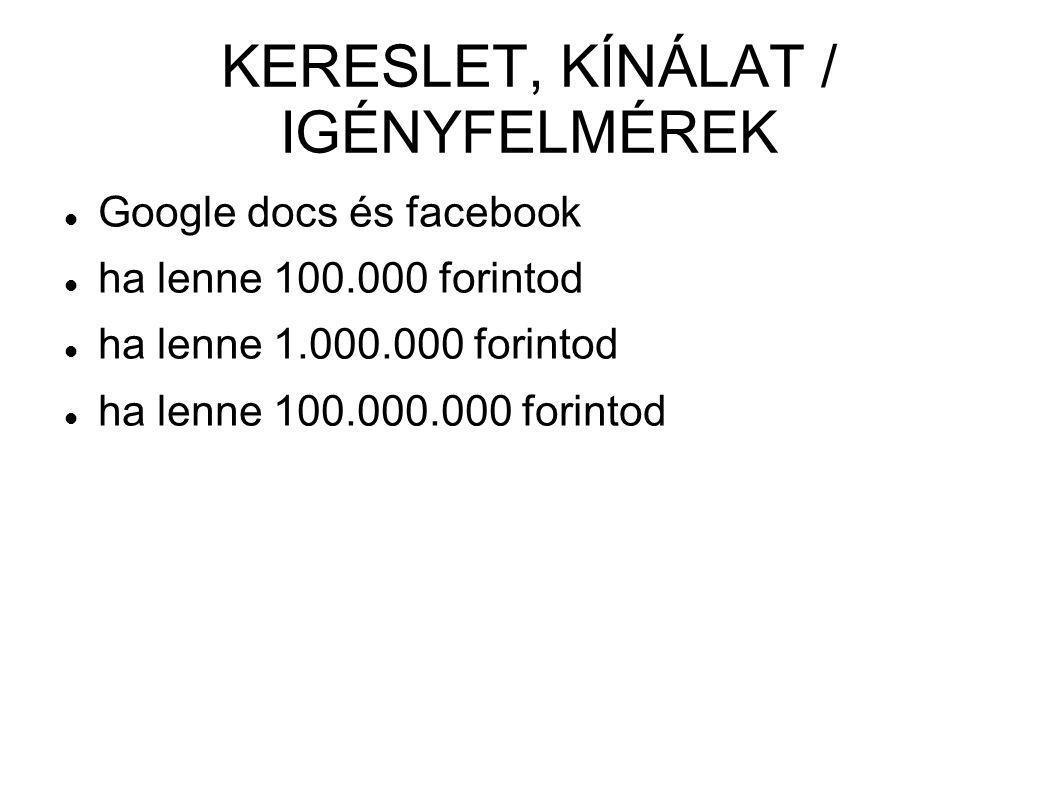KERESLET, KÍNÁLAT / IGÉNYFELMÉREK  Google docs és facebook  ha lenne 100.000 forintod  ha lenne 1.000.000 forintod  ha lenne 100.000.000 forintod
