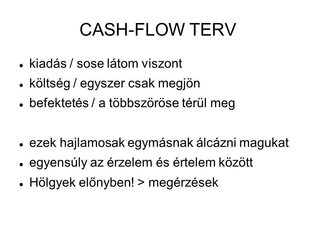 CASH-FLOW TERV  kiadás / sose látom viszont  költség / egyszer csak megjön  befektetés / a többszöröse térül meg  ezek hajlamosak egymásnak álcázn