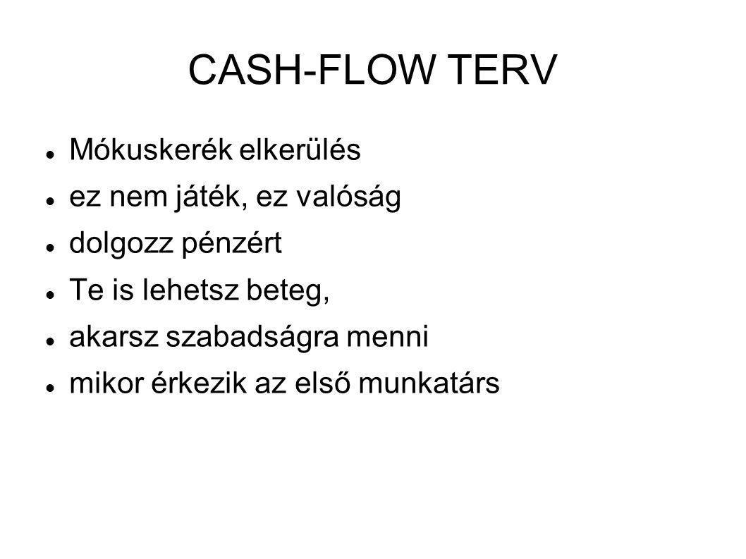 CASH-FLOW TERV  Mókuskerék elkerülés  ez nem játék, ez valóság  dolgozz pénzért  Te is lehetsz beteg,  akarsz szabadságra menni  mikor érkezik a