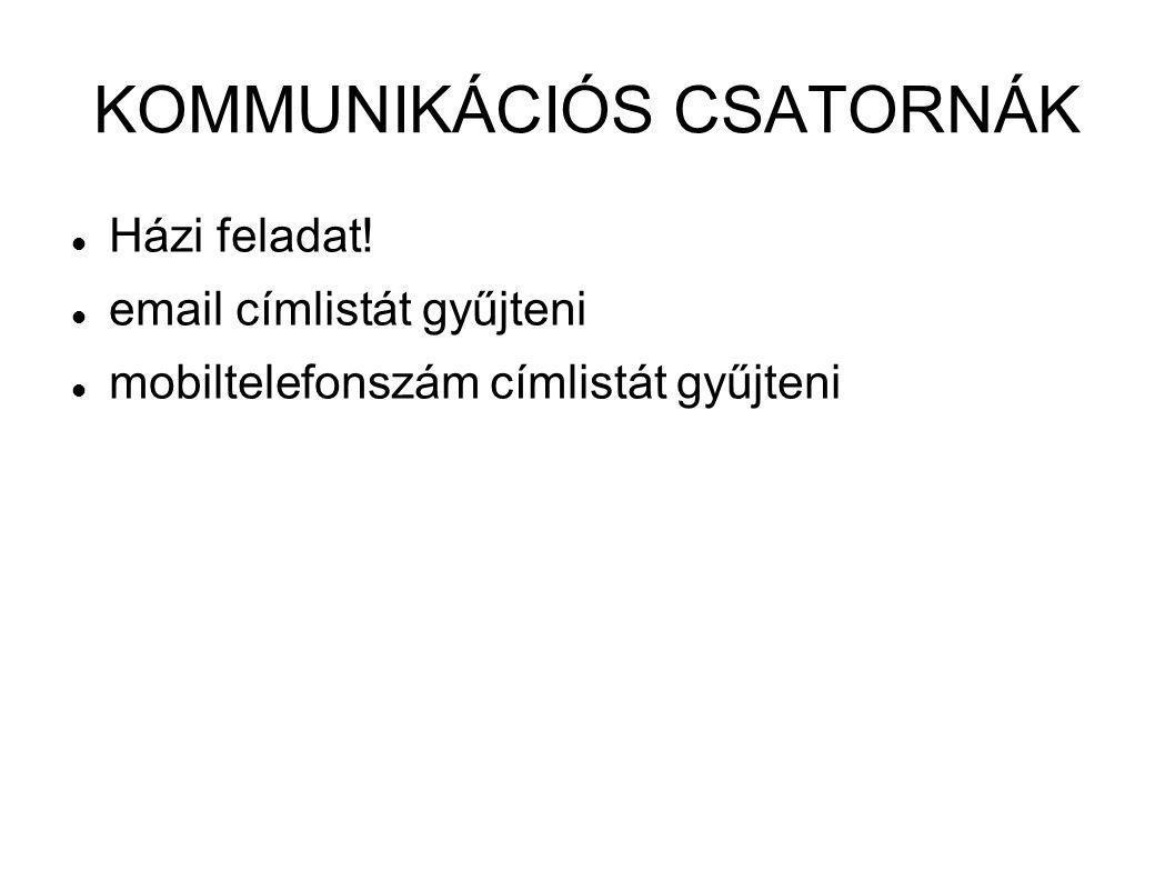 KOMMUNIKÁCIÓS CSATORNÁK  Házi feladat!  email címlistát gyűjteni  mobiltelefonszám címlistát gyűjteni