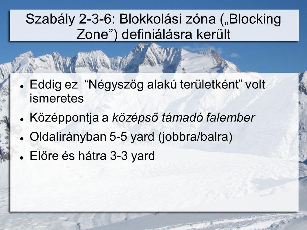 """Szabály 2-3-6: Blokkolási zóna (""""Blocking Zone ) definiálásra került  Eddig ez Négyszög alakú területként volt ismeretes  Középpontja a középső támadó falember  Oldalirányban 5-5 yard (jobbra/balra)  Előre és hátra 3-3 yard"""