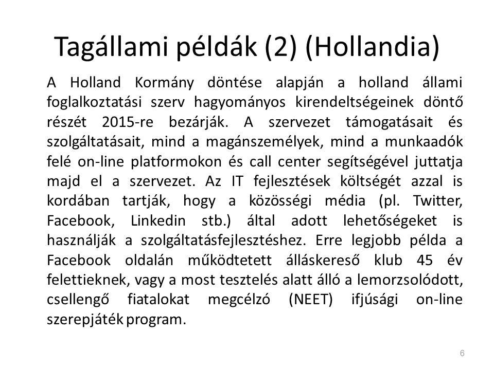 Tagállami példák (2) (Hollandia) A Holland Kormány döntése alapján a holland állami foglalkoztatási szerv hagyományos kirendeltségeinek döntő részét 2