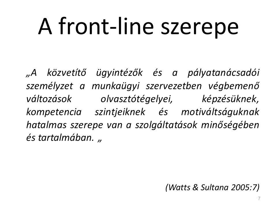 """A front-line szerepe """"A közvetítő ügyintézők és a pályatanácsadói személyzet a munkaügyi szervezetben végbemenő változások olvasztótégelyei, képzésükn"""