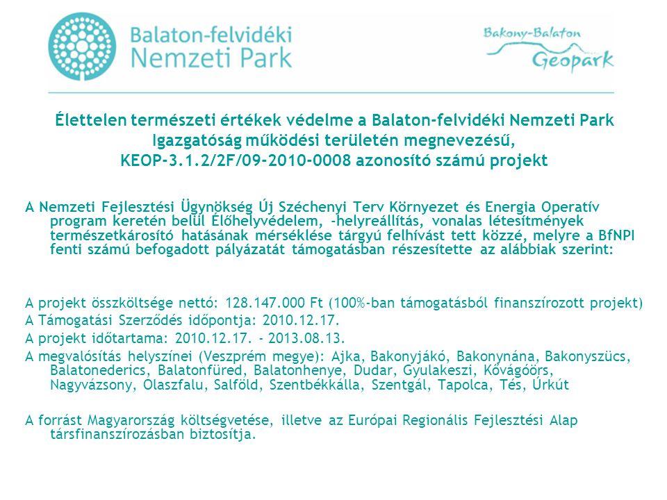 Élettelen természeti értékek védelme a Balaton-felvidéki Nemzeti Park Igazgatóság működési területén megnevezésű, KEOP-3.1.2/2F/09-2010-0008 azonosító számú projekt A Nemzeti Fejlesztési Ügynökség Új Széchenyi Terv Környezet és Energia Operatív program keretén belül Élőhelyvédelem, -helyreállítás, vonalas létesítmények természetkárosító hatásának mérséklése tárgyú felhívást tett közzé, melyre a BfNPI fenti számú befogadott pályázatát támogatásban részesítette az alábbiak szerint: A projekt összköltsége nettó: 128.147.000 Ft (100%-ban támogatásból finanszírozott projekt) A Támogatási Szerződés időpontja: 2010.12.17.