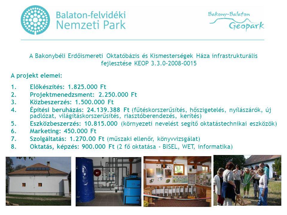 A Bakonybéli Erdőismereti Oktatóbázis és Kismesterségek Háza infrastrukturális fejlesztése KEOP 3.3.0-2008-0015 A projekt elemei: 1.Előkészítés: 1.825.000 Ft 2.Projektmenedzsment: 2.250.000 Ft 3.Közbeszerzés: 1.500.000 Ft 4.Építési beruházás: 24.139.388 Ft (fűtéskorszerűsítés, hőszigetelés, nyílászárók, új padlózat, világításkorszerűsítés, riasztóberendezés, kerítés) 5.Eszközbeszerzés: 10.815.000 (környezeti nevelést segítő oktatástechnikai eszközök) 6.Marketing: 450.000 Ft 7.Szolgáltatás: 1.270.00 Ft (műszaki ellenőr, könyvvizsgálat) 8.Oktatás, képzés: 900.000 Ft (2 fő oktatása - BISEL, WET, informatika)