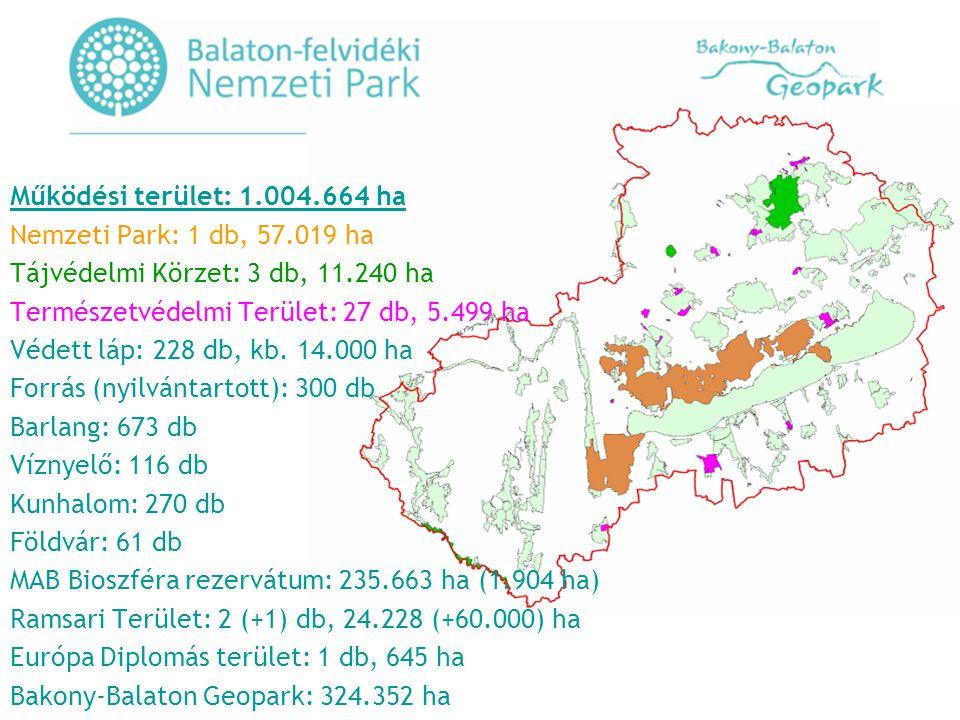 Működési terület: 1.004.664 ha Nemzeti Park: 1 db, 57.019 ha Tájvédelmi Körzet: 3 db, 11.240 ha Természetvédelmi Terület: 27 db, 5.499 ha Védett láp: 228 db, kb.