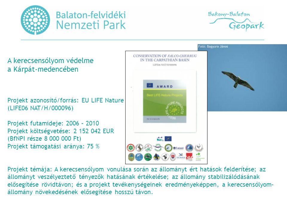 A kerecsensólyom védelme a Kárpát-medencében Projekt azonosító/forrás: EU LIFE Nature (LIFE06 NAT/H/000096) Projekt futamideje: 2006 – 2010 Projekt költségvetése: 2 152 042 EUR (BfNPI része 8 000 000 Ft) Projekt támogatási aránya: 75 % Projekt témája: A kerecsensólyom vonulása során az állományt ért hatások felderítése; az állományt veszélyeztető tényezők hatásának értékelése; az állomány stabilizálódásának elősegítése rövidtávon; és a projekt tevékenységeinek eredményeképpen, a kerecsensólyom- állomány növekedésének elősegítése hosszú távon.