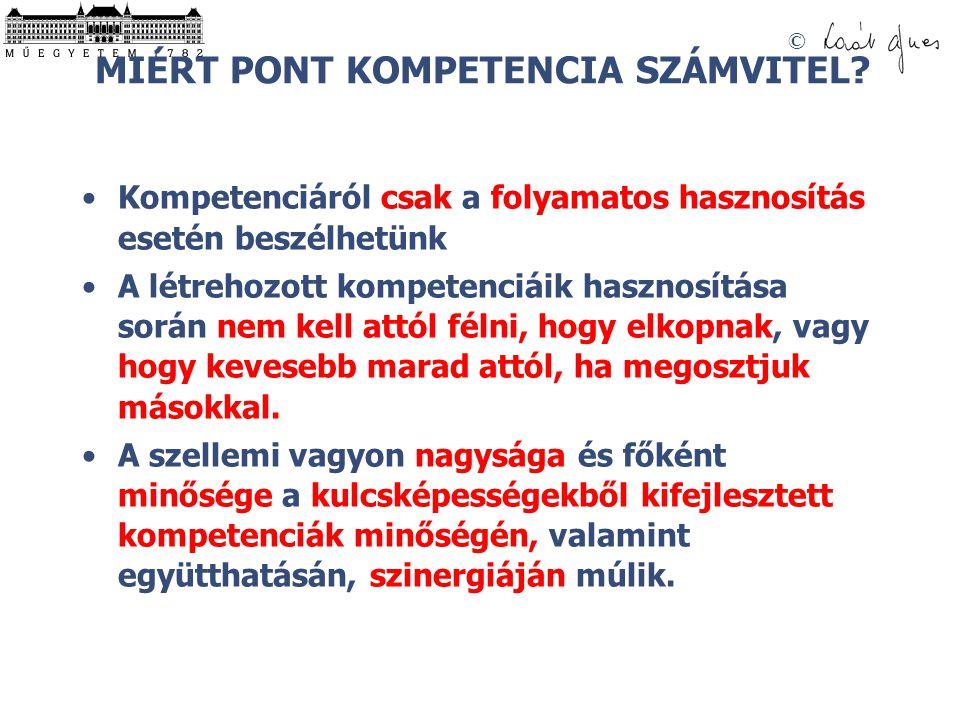 © MIÉRT PONT KOMPETENCIA SZÁMVITEL? •Kompetenciáról csak a folyamatos hasznosítás esetén beszélhetünk •A létrehozott kompetenciáik hasznosítása során