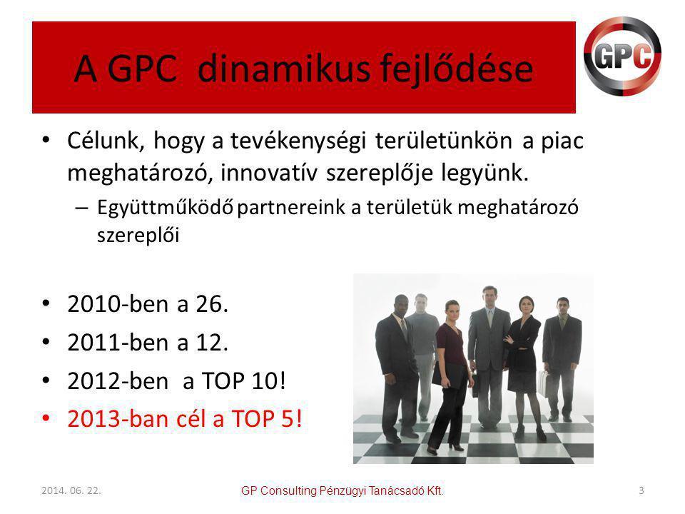 A GPC dinamikus fejlődése • Célunk, hogy a tevékenységi területünkön a piac meghatározó, innovatív szereplője legyünk.