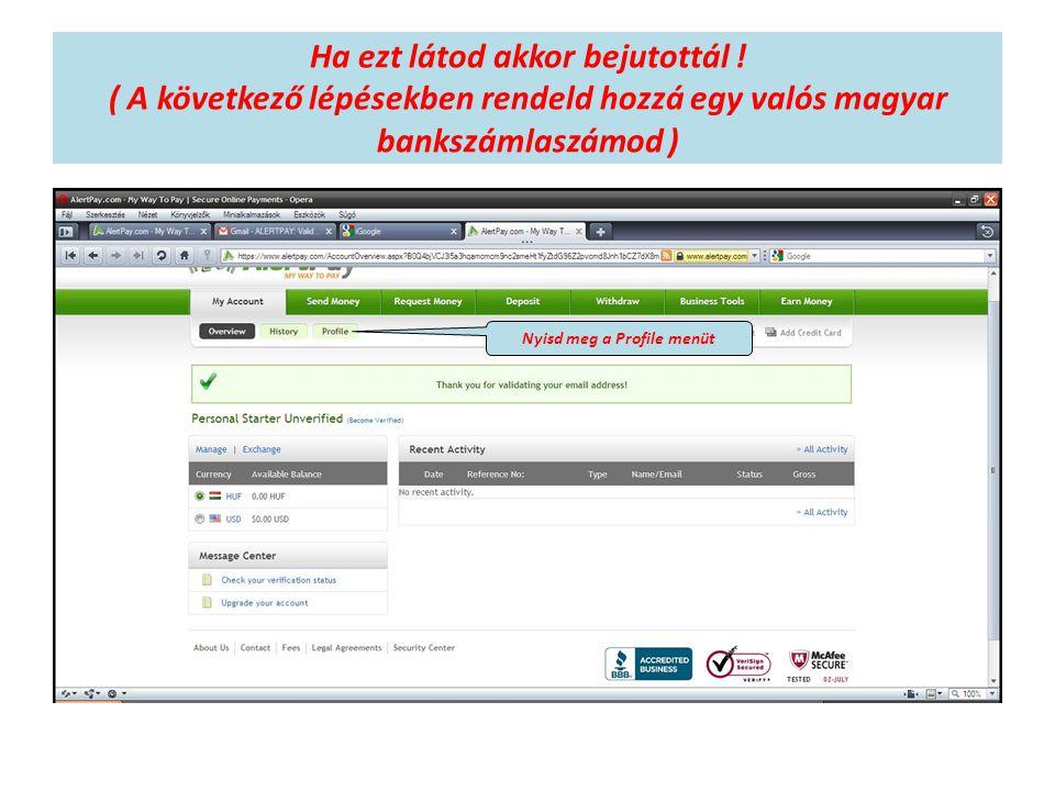 Ha ezt látod akkor bejutottál ! ( A következő lépésekben rendeld hozzá egy valós magyar bankszámlaszámod ) Nyisd meg a Profile menüt
