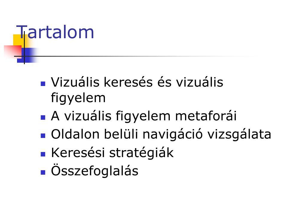 Vizuális keresés  Vizuális keresés  Figyelem előtti szakasz:  Vizuális jellemzőkről (pl.