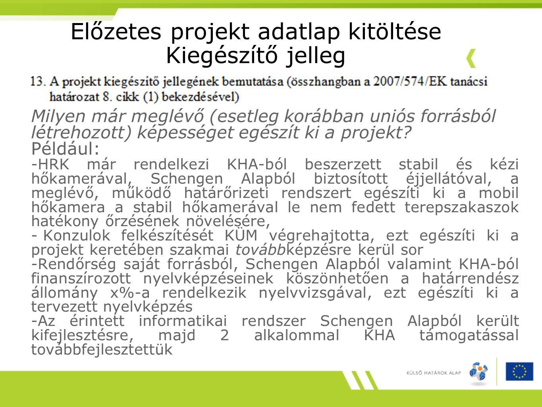 Előzetes projekt adatlap kitöltése Kiegészítő jelleg Milyen már meglévő (esetleg korábban uniós forrásból létrehozott) képességet egészít ki a projekt