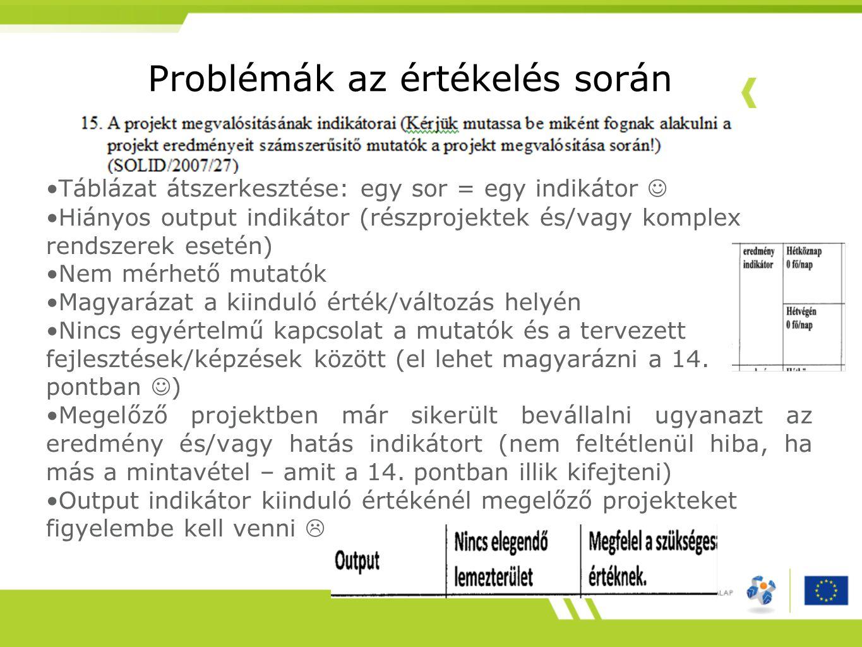 Problémák az értékelés során •Táblázat átszerkesztése: egy sor = egy indikátor  •Hiányos output indikátor (részprojektek és/vagy komplex rendszerek esetén) •Nem mérhető mutatók •Magyarázat a kiinduló érték/változás helyén •Nincs egyértelmű kapcsolat a mutatók és a tervezett fejlesztések/képzések között (el lehet magyarázni a 14.