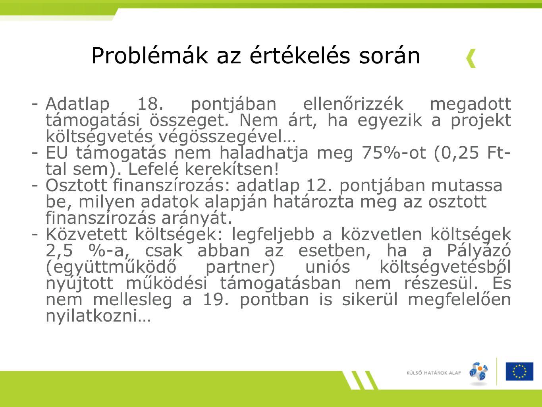 Problémák az értékelés során -Adatlap 18. pontjában ellenőrizzék megadott támogatási összeget. Nem árt, ha egyezik a projekt költségvetés végösszegéve