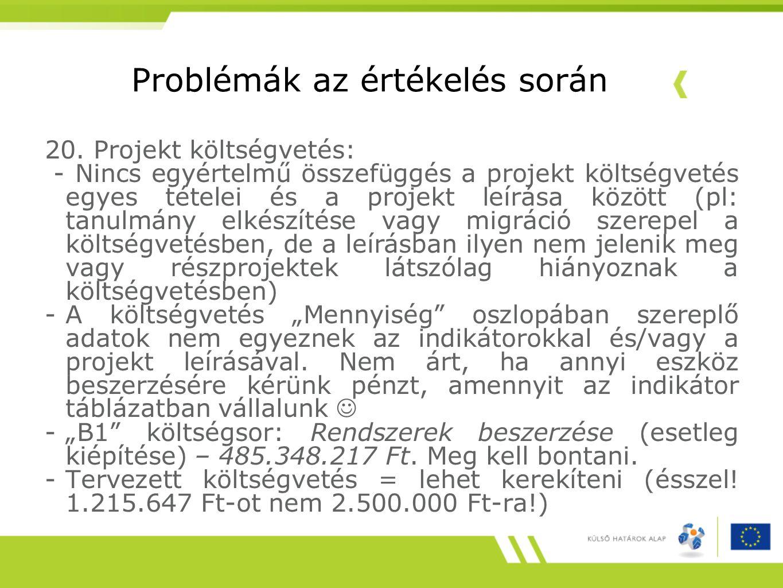 Problémák az értékelés során 20. Projekt költségvetés: - Nincs egyértelmű összefüggés a projekt költségvetés egyes tételei és a projekt leírása között