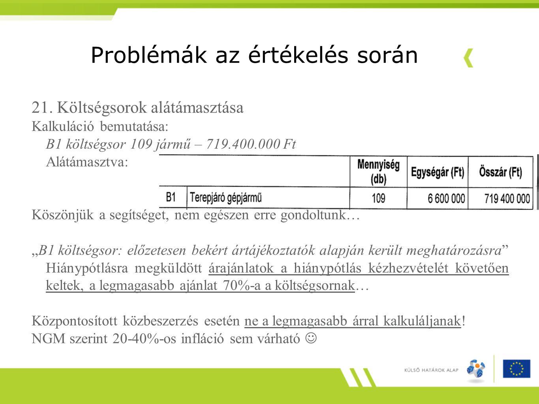 Problémák az értékelés során 21. Költségsorok alátámasztása Kalkuláció bemutatása: B1 költségsor 109 jármű – 719.400.000 Ft Alátámasztva: Köszönjük a