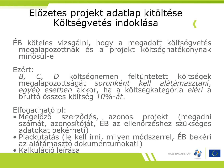 Előzetes projekt adatlap kitöltése Költségvetés indoklása ÉB köteles vizsgálni, hogy a megadott költségvetés megalapozottnak és a projekt költséghaték