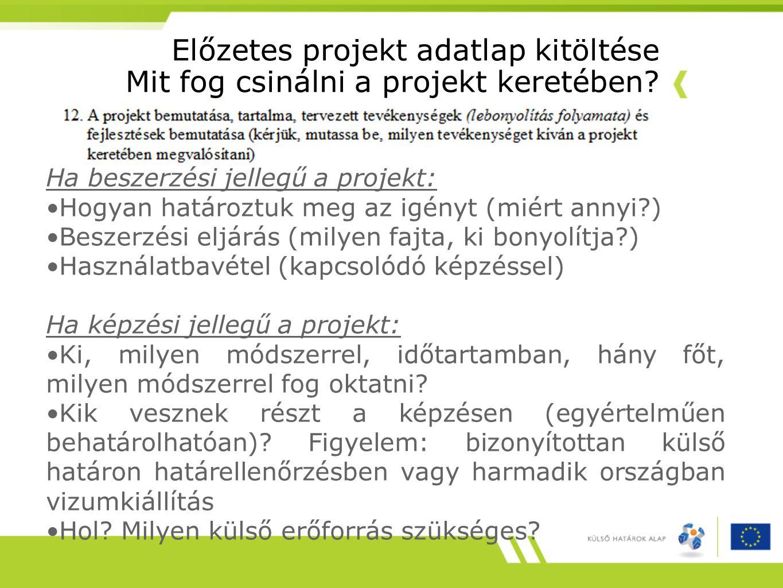 Előzetes projekt adatlap kitöltése Mit fog csinálni a projekt keretében? Ha beszerzési jellegű a projekt: •Hogyan határoztuk meg az igényt (miért anny