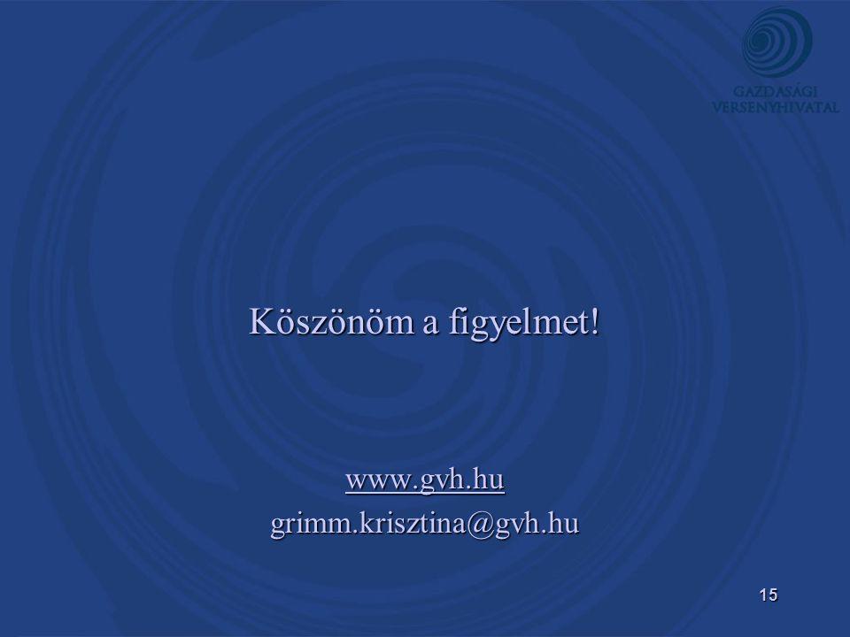15 Köszönöm a figyelmet! www.gvh.hu grimm.krisztina@gvh.hu