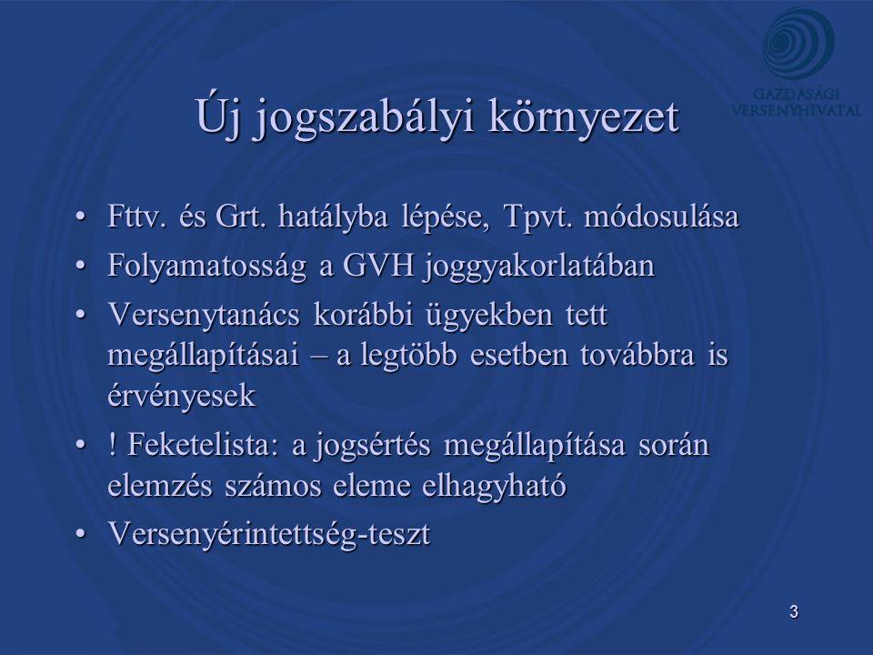 3 Új jogszabályi környezet •Fttv. és Grt. hatályba lépése, Tpvt. módosulása •Folyamatosság a GVH joggyakorlatában •Versenytanács korábbi ügyekben tett