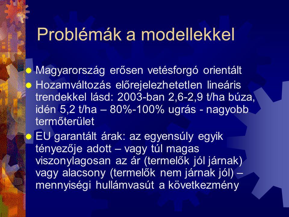 Problémák a modellekkel  Magyarország erősen vetésforgó orientált  Hozamváltozás előrejelezhetetlen lineáris trendekkel lásd: 2003-ban 2,6-2,9 t/ha búza, idén 5,2 t/ha – 80%-100% ugrás - nagyobb termőterület  EU garantált árak: az egyensúly egyik tényezője adott – vagy túl magas viszonylagosan az ár (termelők jól járnak) vagy alacsony (termelők nem járnak jól) – mennyiségi hullámvasút a következmény