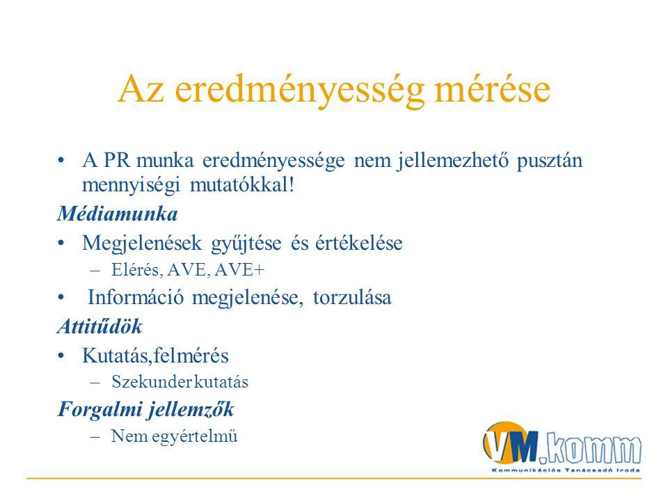 Az eredményesség mérése •A PR munka eredményessége nem jellemezhető pusztán mennyiségi mutatókkal.