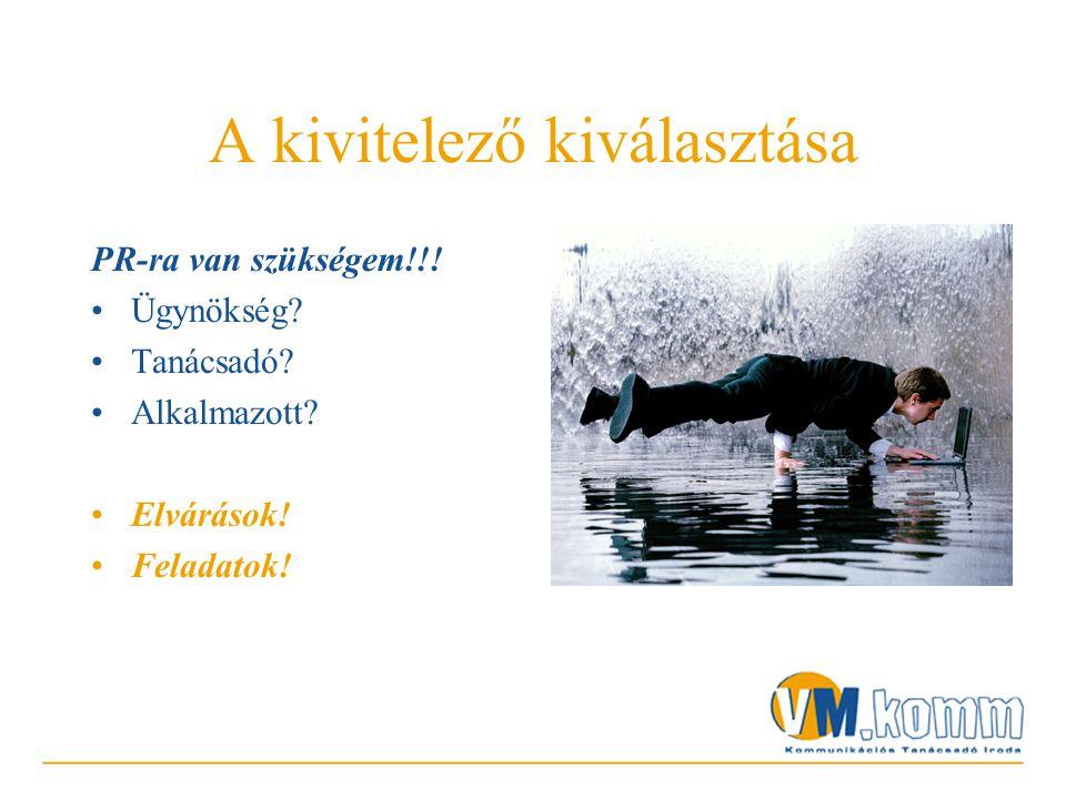 PR-ra van szükségem!!! •Ügynökség •Tanácsadó •Alkalmazott •Elvárások! •Feladatok!