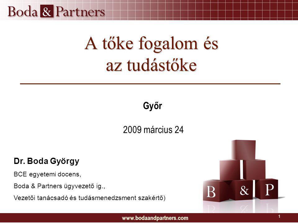 www.bodaandpartners.com 1 A tőke fogalom és az tudástőke Győr 2009 március 24 Dr.
