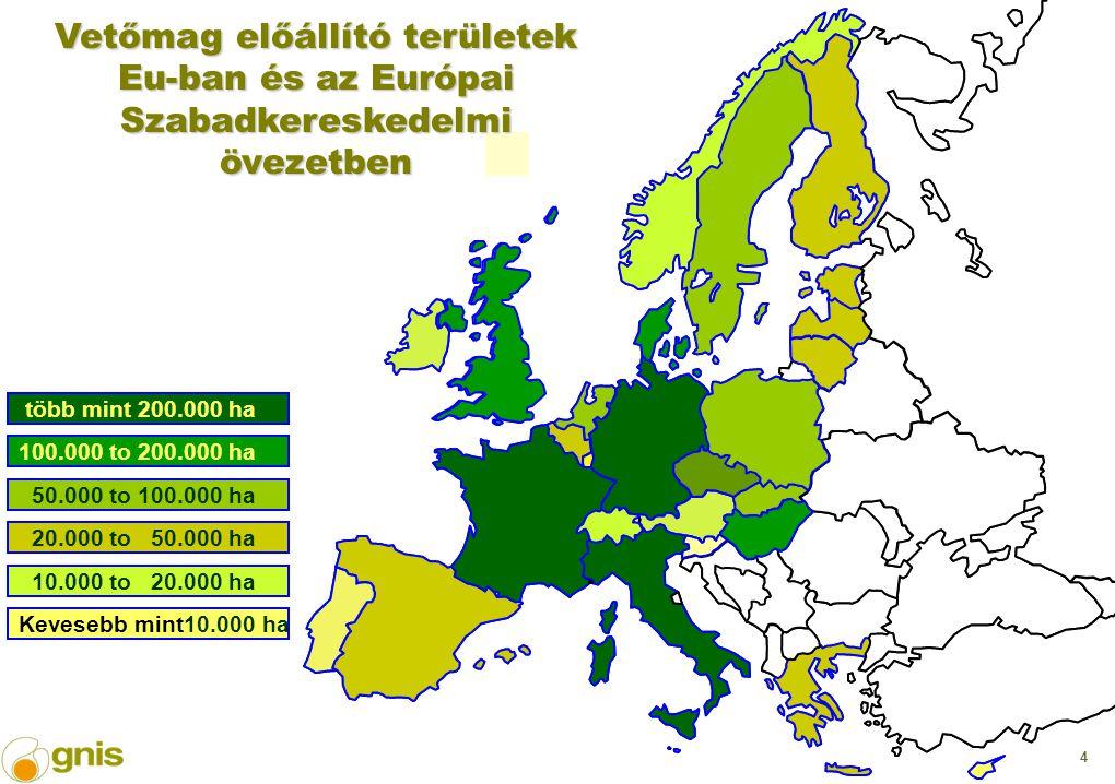 4 több mint 200.000 ha 100.000 to 200.000 ha 50.000 to 100.000 ha 20.000 to 50.000 ha 10.000 to 20.000 ha Kevesebb mint10.000 ha Vetőmag előállító területek Eu-ban és az Európai Szabadkereskedelmi övezetben