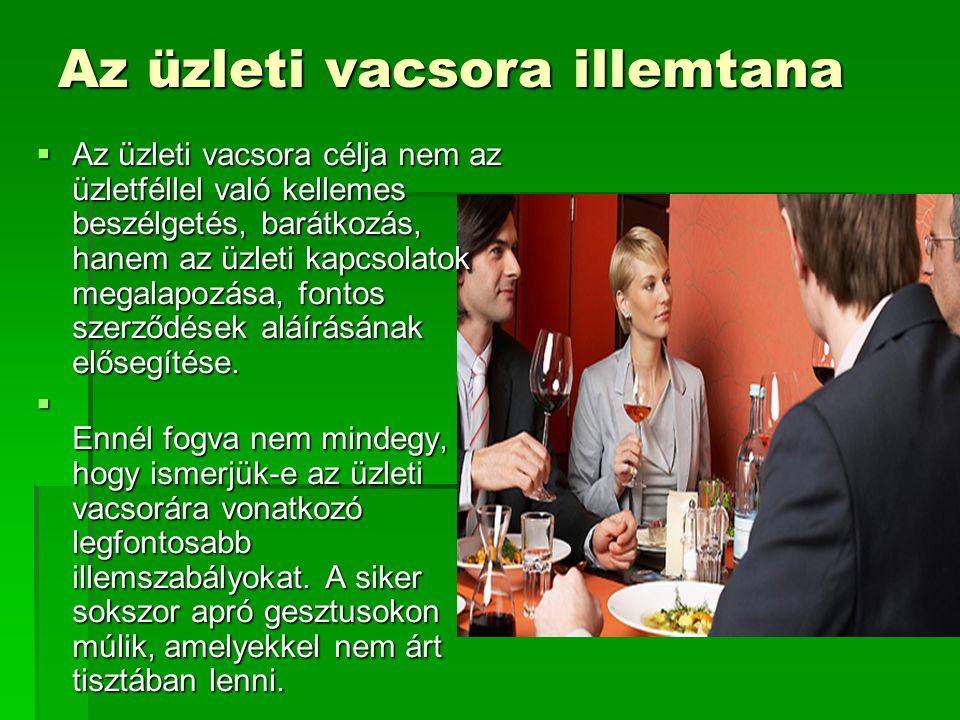 Tervezés  Gondos előkészületekre van szükség, ha egy fontos üzlettársunkat vacsorázni hívunk.