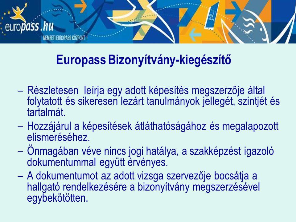 Europass Bizonyítvány-kiegészítő –Részletesen leírja egy adott képesítés megszerzője által folytatott és sikeresen lezárt tanulmányok jellegét, szintj