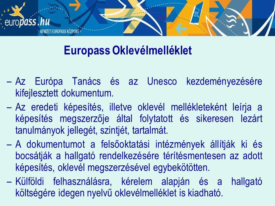 Europass Oklevélmelléklet –Az Európa Tanács és az Unesco kezdeményezésére kifejlesztett dokumentum. –Az eredeti képesítés, illetve oklevél mellékletek