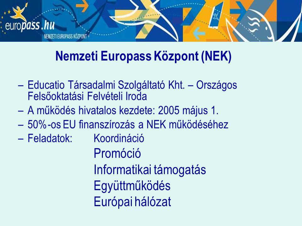 Nemzeti Europass Központ (NEK) –Educatio Társadalmi Szolgáltató Kht. – Országos Felsőoktatási Felvételi Iroda –A működés hivatalos kezdete: 2005 május