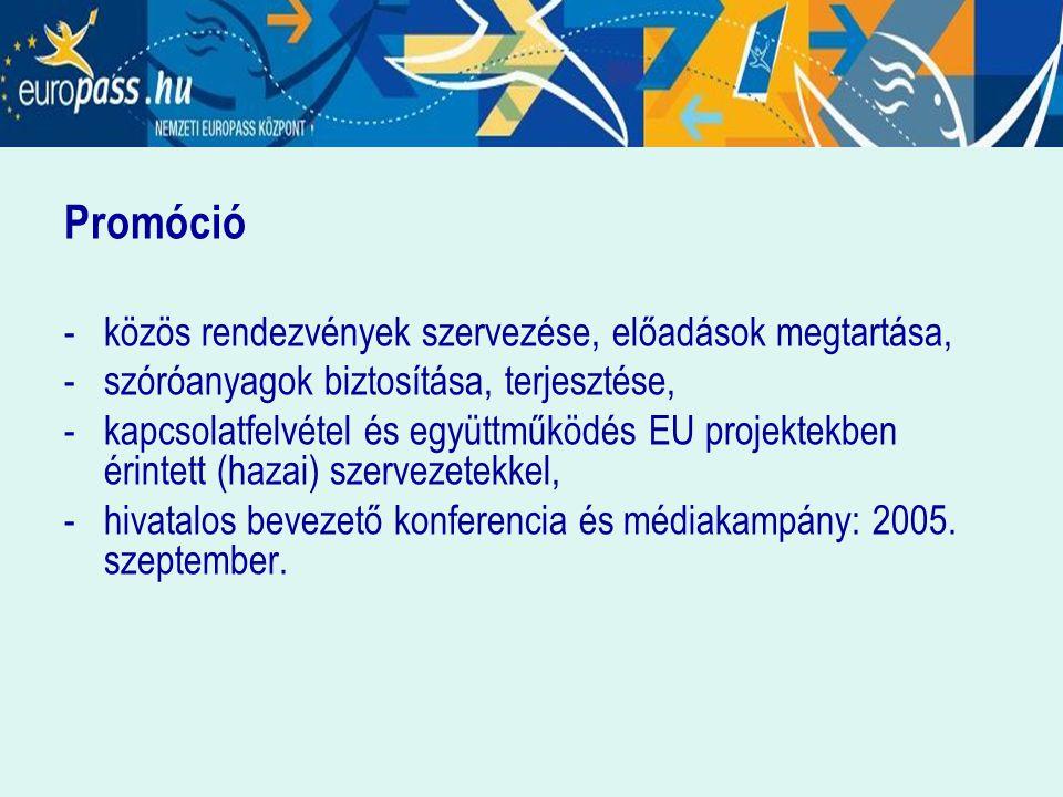 Promóció -közös rendezvények szervezése, előadások megtartása, - szóróanyagok biztosítása, terjesztése, -kapcsolatfelvétel és együttműködés EU projektekben érintett (hazai) szervezetekkel, - hivatalos bevezető konferencia és médiakampány: 2005.
