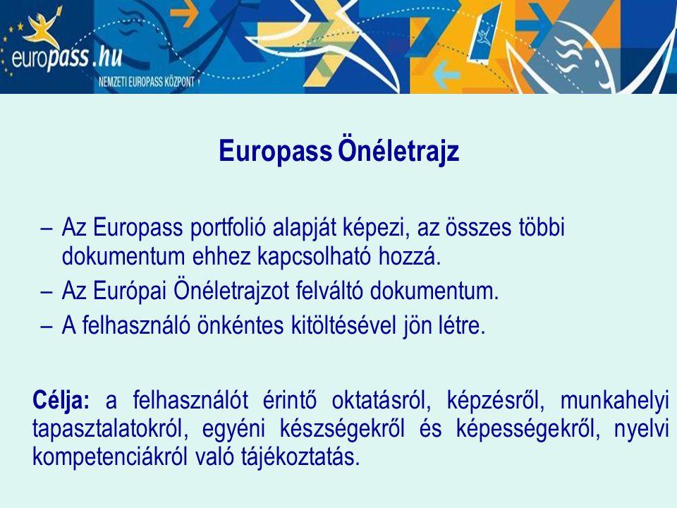Europass Önéletrajz –Az Europass portfolió alapját képezi, az összes többi dokumentum ehhez kapcsolható hozzá. –Az Európai Önéletrajzot felváltó dokum
