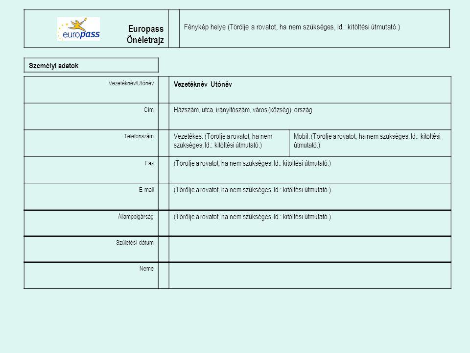 Europass Önéletrajz Fénykép helye (Törölje a rovatot, ha nem szükséges, ld.: kitöltési útmutató.) Személyi adatok Vezetéknév/Utónév Vezetéknév Utónév