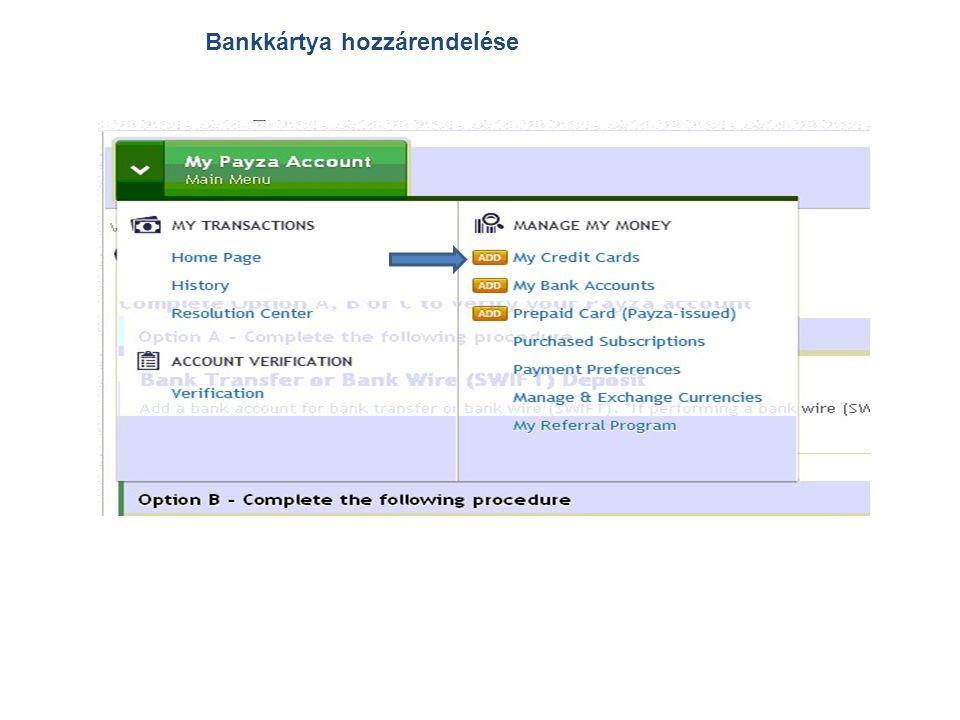 Bankkártya hozzárendelése