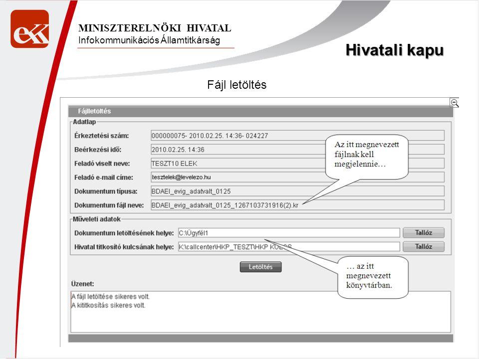 Infokommunikációs Államtitkárság MINISZTERELNÖKI HIVATAL Hivatali kapu Fájl letöltés