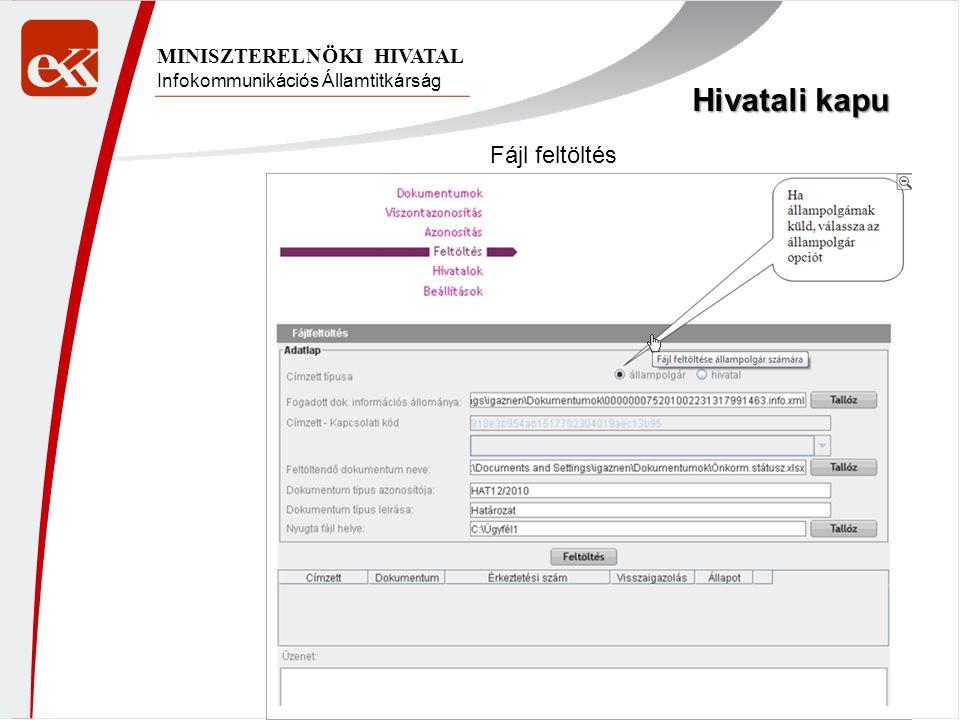 Infokommunikációs Államtitkárság MINISZTERELNÖKI HIVATAL Hivatali kapu Fájl feltöltés
