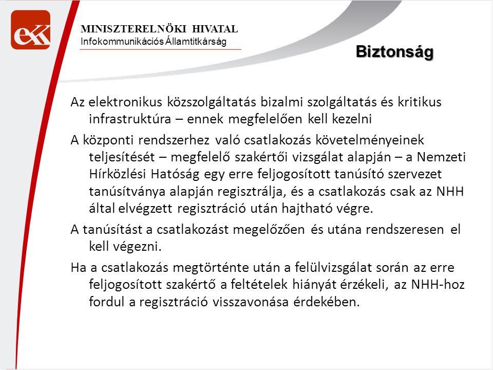 Infokommunikációs Államtitkárság MINISZTERELNÖKI HIVATAL Az elektronikus közszolgáltatás bizalmi szolgáltatás és kritikus infrastruktúra – ennek megfelelően kell kezelni A központi rendszerhez való csatlakozás követelményeinek teljesítését – megfelelő szakértői vizsgálat alapján – a Nemzeti Hírközlési Hatóság egy erre feljogosított tanúsító szervezet tanúsítványa alapján regisztrálja, és a csatlakozás csak az NHH által elvégzett regisztráció után hajtható végre.