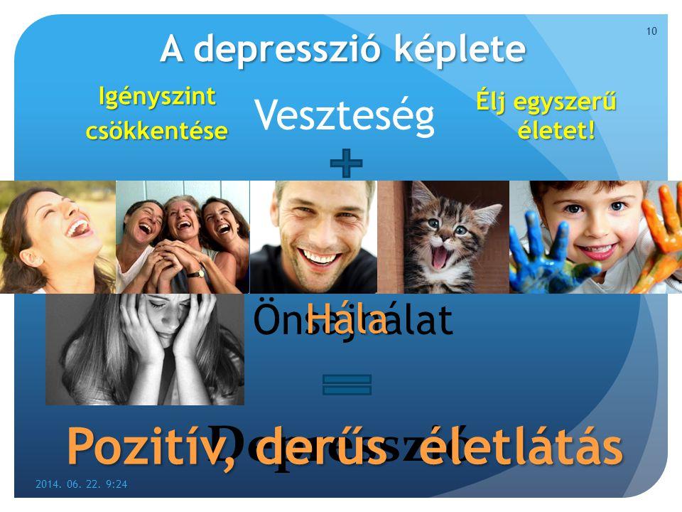A depresszió képlete Veszteség 2014. 06. 22. 9:26 10 Negatív gondolkodásmód Önsajnálat Depresszió Pozitív gondolkodásmód Hála Pozitív, derűs életlátás
