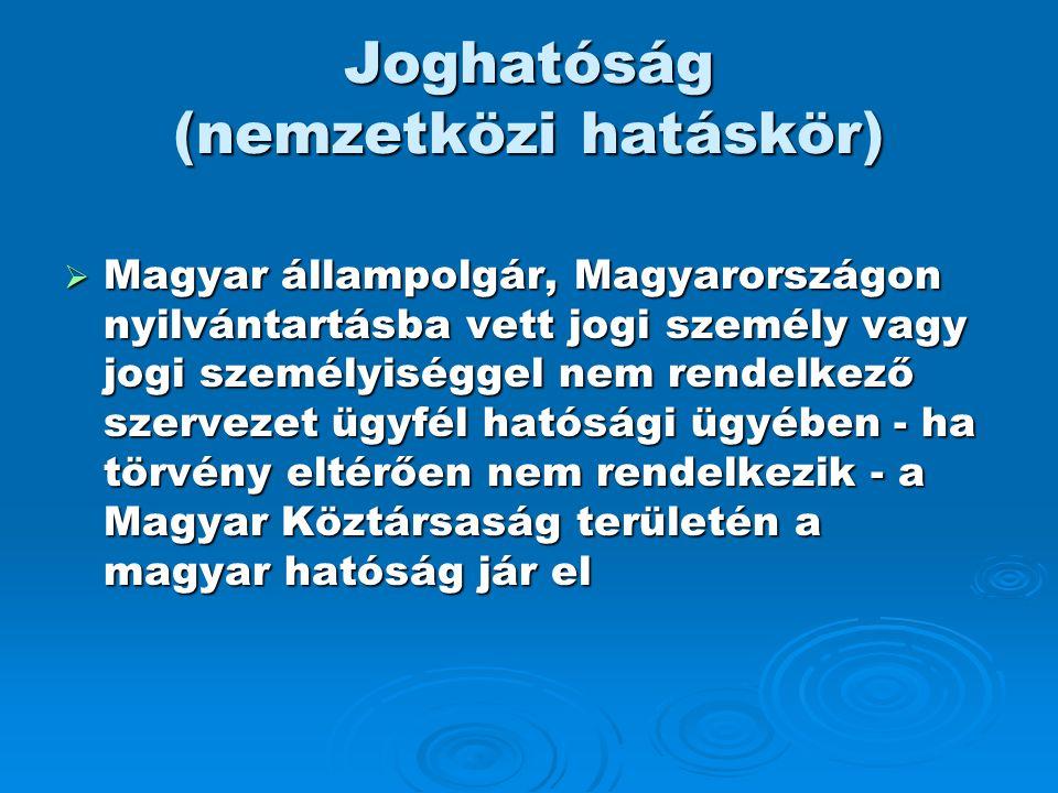 Joghatóság (nemzetközi hatáskör)  Magyar állampolgár, Magyarországon nyilvántartásba vett jogi személy vagy jogi személyiséggel nem rendelkező szerve