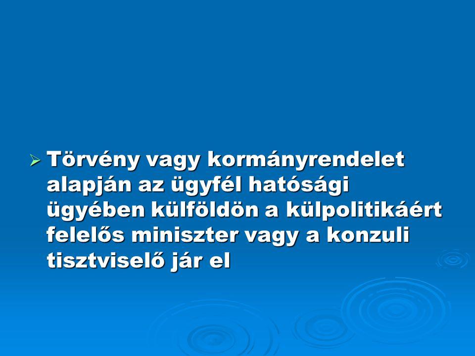  Törvény vagy kormányrendelet alapján az ügyfél hatósági ügyében külföldön a külpolitikáért felelős miniszter vagy a konzuli tisztviselő jár el