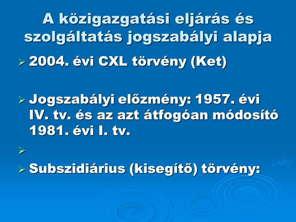 A közigazgatási eljárás és szolgáltatás jogszabályi alapja  2004. évi CXL törvény (Ket)  Jogszabályi előzmény: 1957. évi IV. tv. és az azt átfogóan