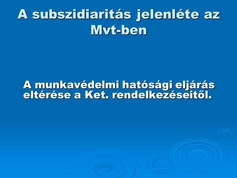 A subszidiaritás jelenléte az Mvt-ben A munkavédelmi hatósági eljárás eltérése a Ket. rendelkezéseitől.
