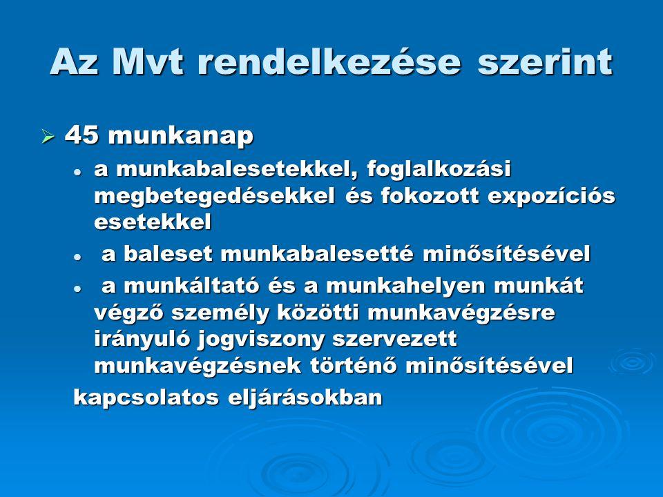 Az Mvt rendelkezése szerint  45 munkanap  a munkabalesetekkel, foglalkozási megbetegedésekkel és fokozott expozíciós esetekkel  a baleset munkabale