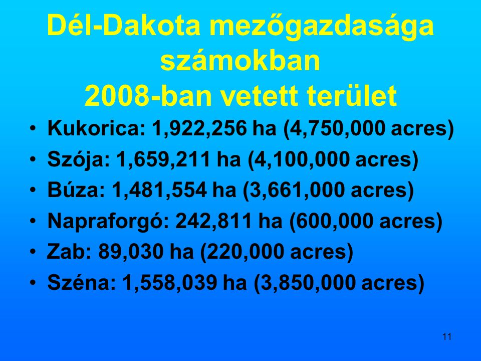 11 Dél-Dakota mezőgazdasága számokban 2008-ban vetett terület •Kukorica: 1,922,256 ha (4,750,000 acres) •Szója: 1,659,211 ha (4,100,000 acres) •Búza: