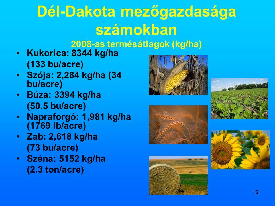 12 Dél-Dakota mezőgazdasága számokban 2008-as termésátlagok (kg/ha) •Kukorica: 8344 kg/ha (133 bu/acre) •Szója: 2,284 kg/ha (34 bu/acre) •Búza: 3394 k