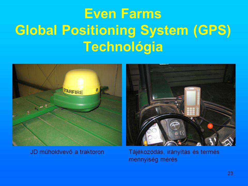 23 Even Farms Global Positioning System (GPS) Technológia JD műholdvevő a traktoronTájékozódás, irányítás és termés mennyiség mérés