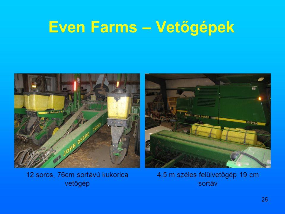 25 Even Farms – Vetőgépek 12 soros, 76cm sortávú kukorica vetőgép 4,5 m széles felülvetőgép 19 cm sortáv